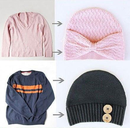 Трикотажная шапочка из старого свитера